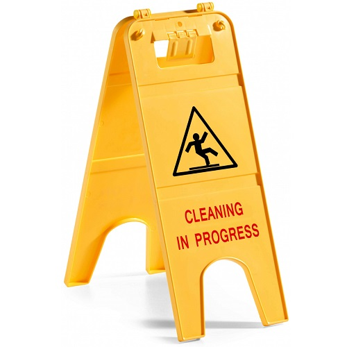 Cleaning in Progress Plastic Sign